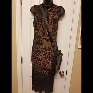 Dresses & Skirts - Black animal print dress